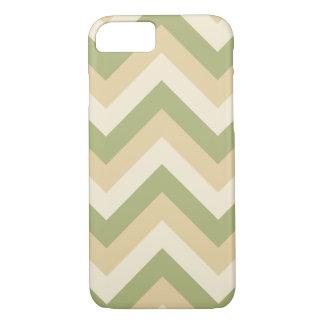 Green Beige Wedding Colors Modern Chevron Pattern iPhone 8/7 Case