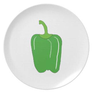 Green Bell Pepper. Whole. Dinner Plate