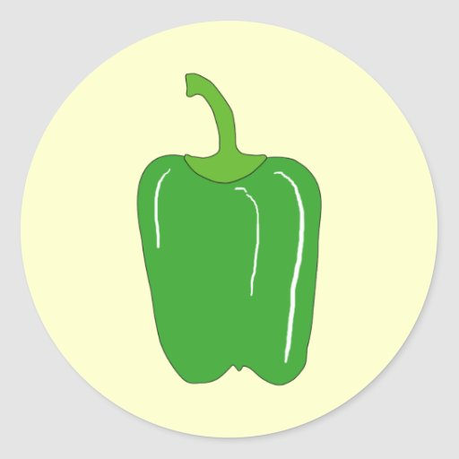 Green Bell Pepper. Whole. Stickers