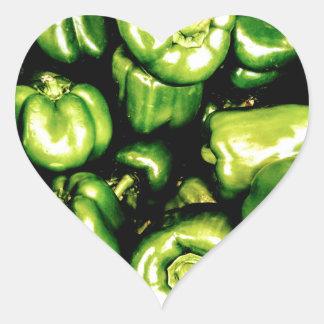 Green Bell Peppers Heart Sticker