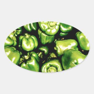 Green Bell Peppers Oval Sticker