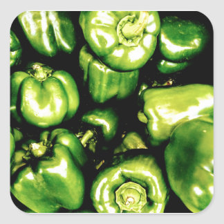 Green Bell Peppers Square Sticker