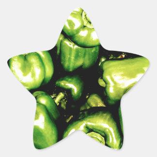 Green Bell Peppers Star Sticker