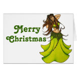 Green Belly Dancer Greeting Card