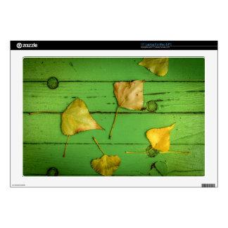 """Green Bench Leaves jpg Skin For 17"""" Laptop"""
