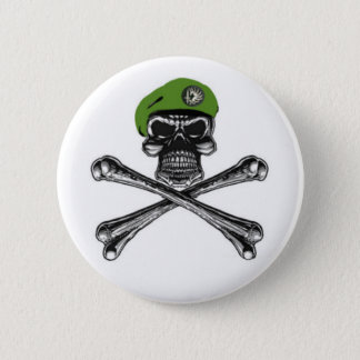 green beret death's head pinback button