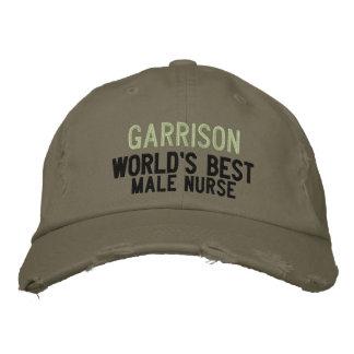 Green Best Male Nurse Custom Name Embroidered Baseball Hat