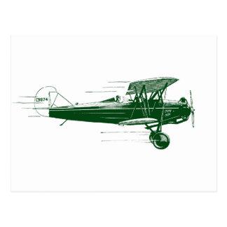 Green Bi Plane Post Card