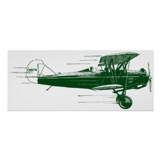 Green Bi Plane Poster