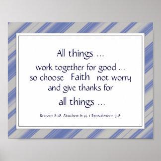 Green Bible Scripture Encouragement Quotes Poster
