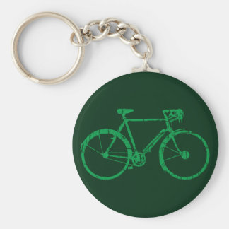 green bicycle basic round button keychain
