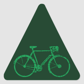 green bicycle . biking cool triangle sticker
