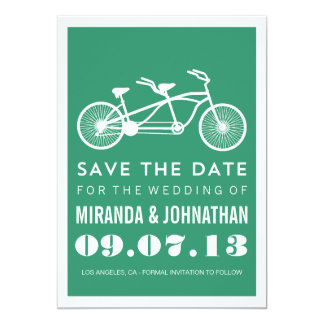 Green Bicycle Design Photo Save The Date Invites
