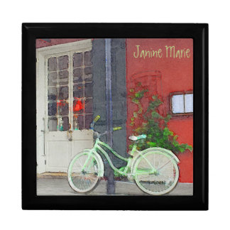 Green Bicycle In Brushstrokes Gift Box