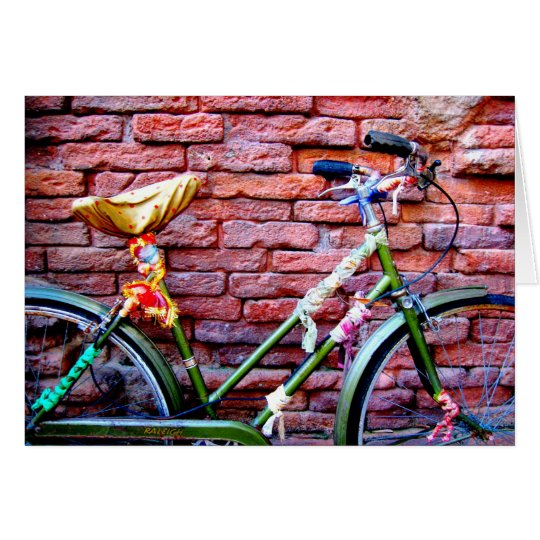 Green Bicycle Leaning Against a Brick Wall Card