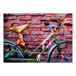 Green Bicycle Leaning Against a Brick Wall Cards