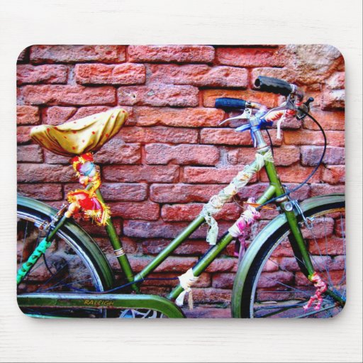 Green Bicycle Leaning Against a Brick Wall Mouse Pads