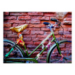 Green Bicycle Leaning Against a Brick Wall Print
