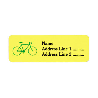 Green Bicycle Silhouette Return Address Label