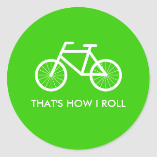 Green bicycle stickers with cute bike riding quote