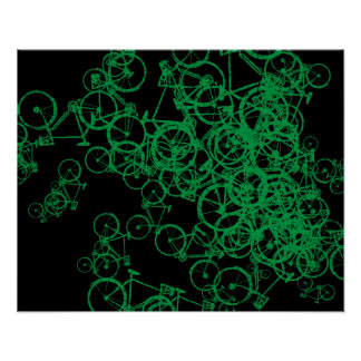 green bicycles pattern poster