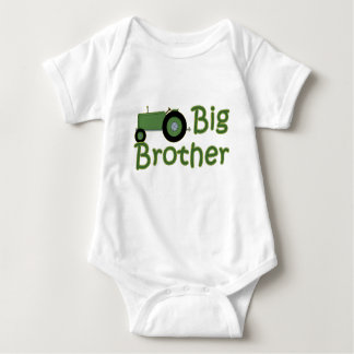 Green Big Brother Tractor Baby Bodysuit