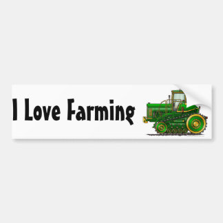 """Green Big Dozer Tractor1, I Love F…Bumper Sticker"