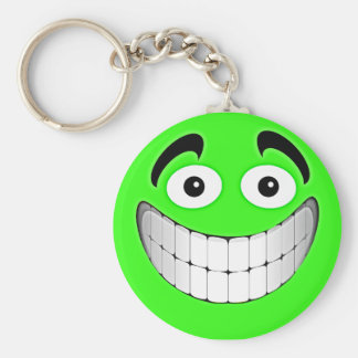 Green Big Green Smiley Face Keychain