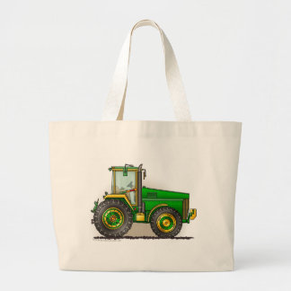 Green Big Tractor Bags/Totes Large Tote Bag