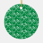 green bike Double-Sided ceramic round christmas ornament