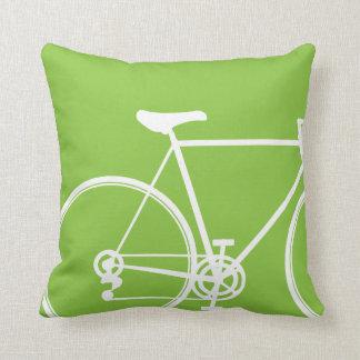 Green bike throw pillow