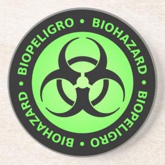 Green Bilingual Biohazard Warning Beverage Coaster