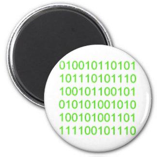 Green Binary 01 - GeekShirts 2 Inch Round Magnet