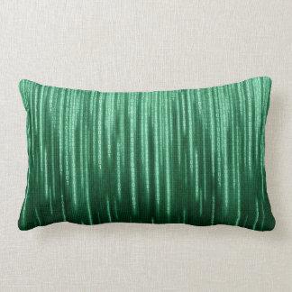 Green Binary Rain Lumbar Pillow
