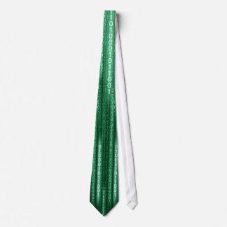 Green Binary Rain Tie