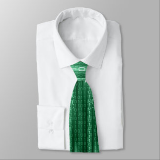 Green Binary Rain Tie