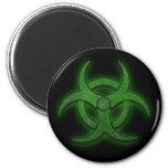 Green Biohazard 2 Inch Round Magnet