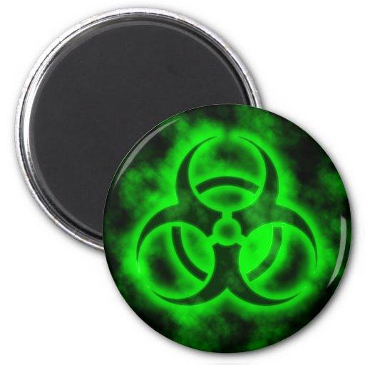 Green Biohazard Fridge Magnets