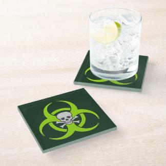 Green Biohazard Skull and Crossbones Glass Coaster