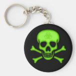 Green Biohazard Skull Keychain