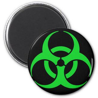 Green Biohazard Symbol 2 Inch Round Magnet