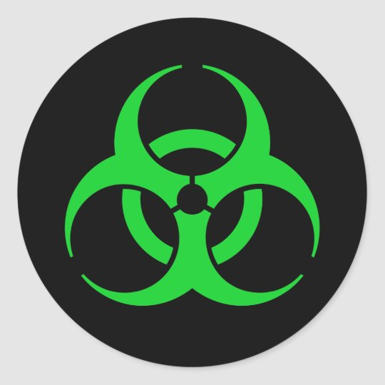 Green Biohazard Symbol Classic Round Sticker Zazzle