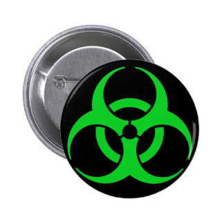Green Biohazard Symbol Pinback Button