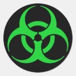 Green Biohazard Symbol Round Sticker