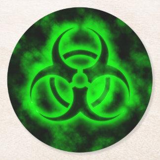 Green Biohazard Symbol Round Paper Coaster