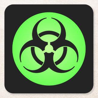 Green Biohazard Symbol Square Paper Coaster