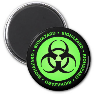 Green Biohazard Warning Magnet