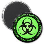 Green Biohazard Warning Magnet Refrigerator Magnet