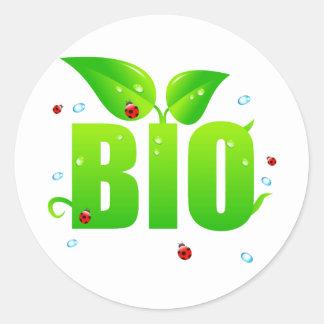 Green biologic organic natural classic round sticker