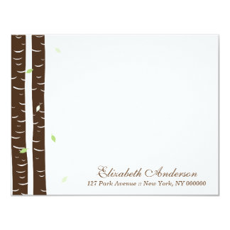 Green Birch Trees Flat Note Cards